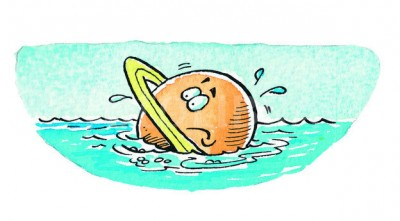 SATURN FLOATING IN THE SEA-CARTOON