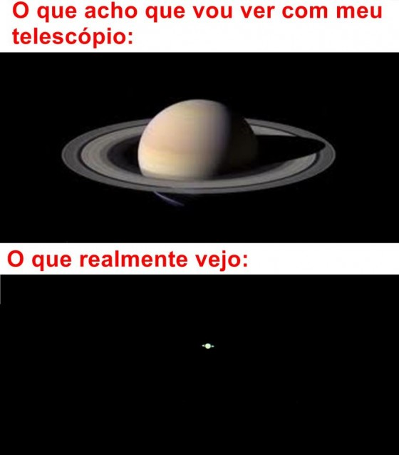 Saturno visto do telescópio